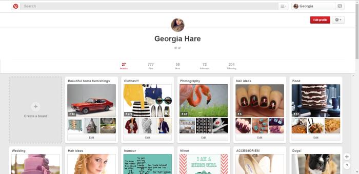 Pinterest Boards and name